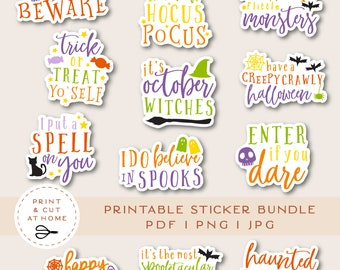 Halloween Vinyl Sticker, Fall Laptop Decals, Witch Stickers, October Printable Stickers Bundle, DIY Ghost Skull Cricut PNG Stickers