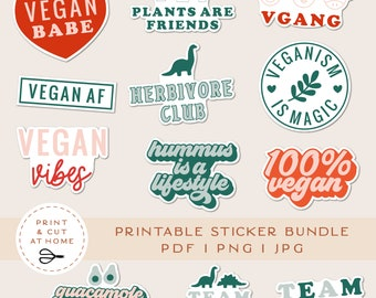 Printable Stickers Bundle, Vegan Vinyl Sticker, Laptop Decal, Animal Plant Clipart, Vegetarian Cricut PNG Stickers, Print & Cut Sticker
