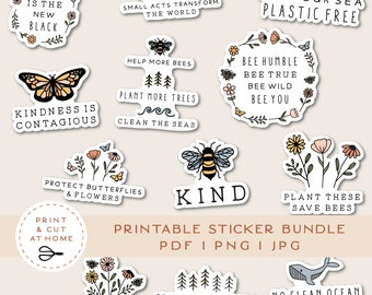 Save the Earth Vinyl Sticker, Be Kind Printable Stickers Bundle, Flower Decals, Animal Sticker, DIY Cricut PNG Stickers, Print & Cut Sticker