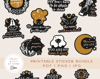 Moon Printable Stickers Bundle, Magic Stickers, Witch Vinyl Sticker, Laptop Decal, DIY Cricut PNG Stickers, Print & Cut Sticker