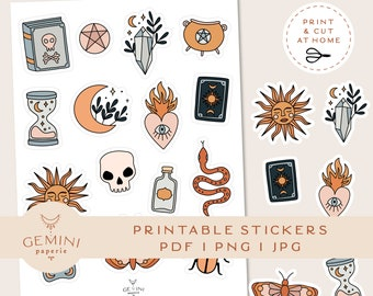 Magic Printable Stickers, Goodnotes Notability Stickers, Cricut PNG Stickers, Digital Stickers, Witchcraft Clipart, Bullet Journal Stickers