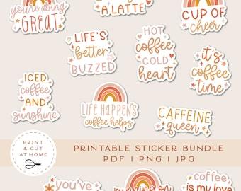 Coffee Printable Stickers Bundle, Coffee Addict Vinyl Sticker, Laptop Decal, Caffeine Clipart, DIY Cricut PNG Stickers, Print & Cut Sticker