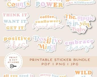 Motivational Quotes Printable Stickers Bundle, Positive Vibes Vinyl Sticker, Inspirational Stickers, Laptop Print and Cut Cricut Stickers