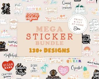 Mega Sticker Bundle, Yoga Crafting Coffee Stickers, Printable DIY Stickers, DIY Cricut PNG Stickers, Print & Cut Sticker, Lgbtq stickers