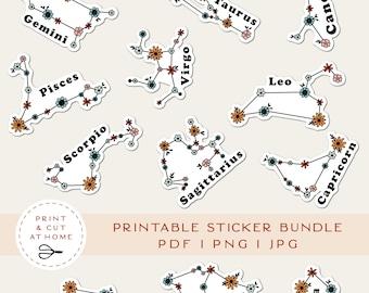Floral Stickers Bundle, Zodiac Printable Vinyl Sticker, Laptop Decal, Astrology Flower Clipart, Cricut PNG Stickers, Print & Cut Sticker