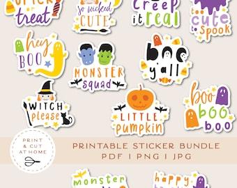 Halloween Vinyl Sticker, Fall Printable Stickers Bundle, Autumn Laptop Decals, Pumpkin Stickers, DIY Ghost Candy Cricut PNG Stickers