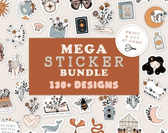 Mega Sticker Bundle, Printable DIY Stickers, Flower Decals, DIY Cricut PNG Stickers, Print & Cut Sticker, Magic Zodiac Floral Sticker
