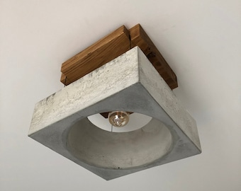 """Ceiling lamp made of solid wood and concrete - """"dome"""""""