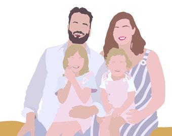 Custom Portrait, Family Portrait, Children, Couple, Individual, Digital Illustration, Vector, Download