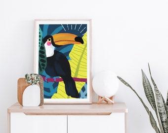 Toucan Art Print, Jungle, Tropical, Bird, Wall Art, Digital Download