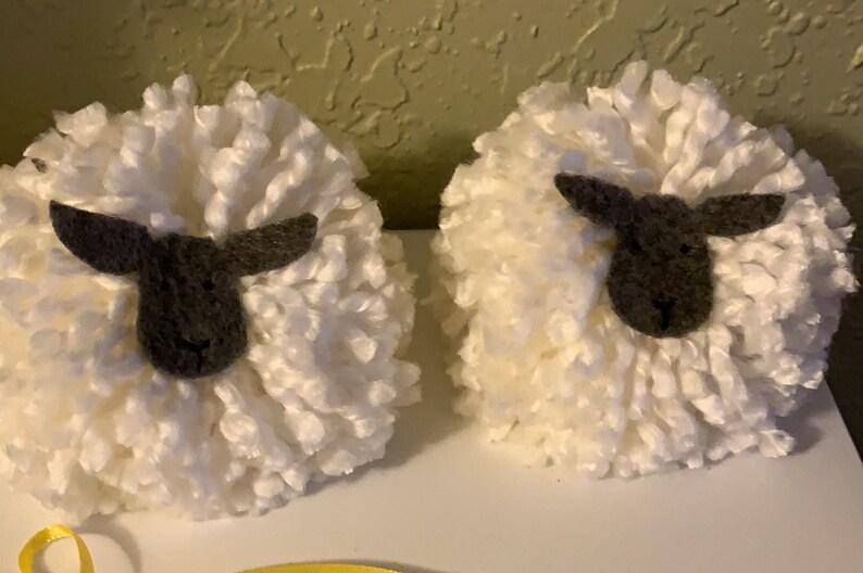 Cute Decor Farm House Pom Poms Bunny and Sheep Handmade Easter Gnomes Tiered Tray decor Spring Decor