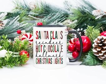Santa Claus Reindeer Hallmark Hot Chocolate Christmas Lights| Christmas Mug| 15 Oz Mug