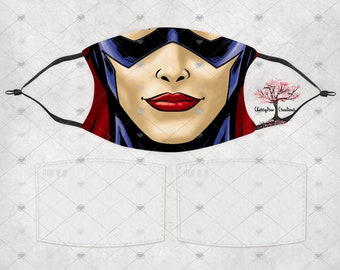 Super Hero Catwoman Washable Adult or Child  Face Mask with 2 Filters Reusable Face Protection