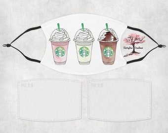 Starbucks Coffee Cappuccino Frappuccino Washable Adult or Child Face Mask with 2 Filters Reusable Face Protection