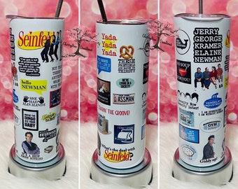 Seinfeld 20 oz Insulated Tumbler Hot Cold Drinks| Jerry Kramer George Elaine| Best Friend Gift| Seinfeld Tumbler