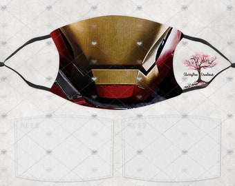 Super Hero Iron Man Comic Washable Adult or Child  Face Mask with 2 Filters Reusable Face Protection
