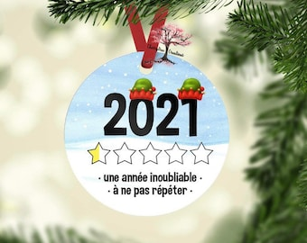 French 2021 Would Not Recommend Ornament | 2021 Christmas Decoration| Pandemic | Coronavirus | COVID | Extremely Disappointed Ornament|