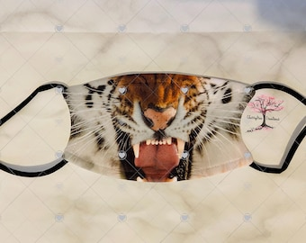 Tiger Face Animal Face Adult or Child  Face Mask with 2 Filters Reusable Face Protection
