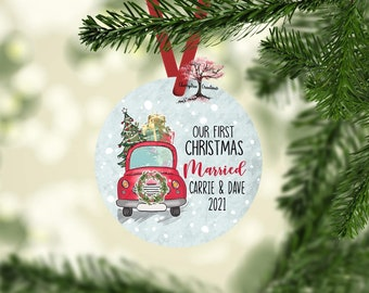 Our First Christmas Married 2021 Christmas Ornament! Round Christmas Ornament| Custom Ornament
