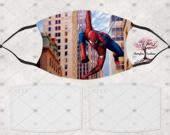 Super Hero Spiderman Comic Washable Adult or Child  Face Mask with 2 Filters Reusable Face Protection