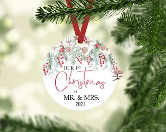 Our First Christmas as Mr and Mrs 2021 Christmas Ornament! Round Christmas Ornament| First Christmas Married