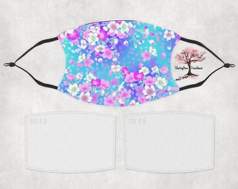 Cherry Blossoms Flowers Washable Adult  Face Mask with 2 Filters Reusable Face Protection