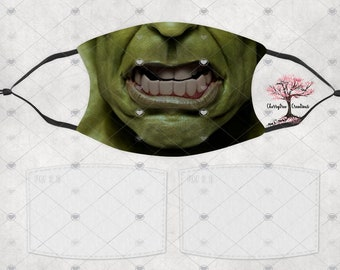 Super Hero Hulk Comic Washable Adult or Child  Face Mask with 2 Filters Reusable Face Protection