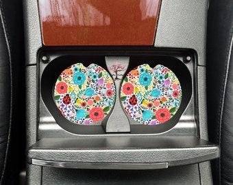 Floral Ladybug Neoprene Car Coasters Set of Two | Drink Coasters