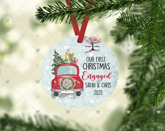 Our First Christmas Engaged 2021 Christmas Ornament! Round Christmas Ornament