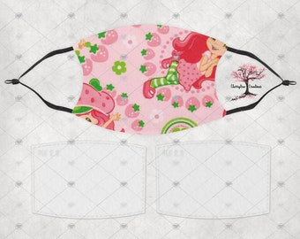 Strawberry Shortcake Washable Adult or Child Face Mask with 2 Filters Reusable Face Protection
