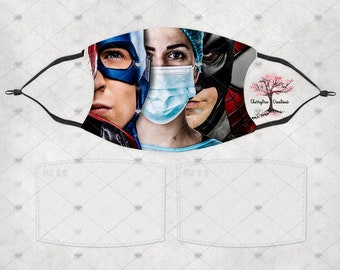 Nurse Hero Heroes Washable Adult or Child  Face Mask with 2 Filters Reusable Face Protection