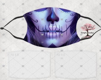 Day of The Dead  Skull Washable Adult or Child Face Mask with 2 Filters Reusable Face Protection