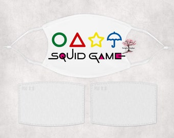 SQUID GAME Washable Adult or Child Face Mask with 2 Filters Reusable Face Protection