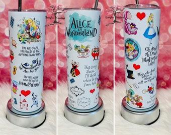 Alice in Wonderland Tumbler| | 20 oz Insulated Tumbler Hot Cold Drinks| Rabbit Hole| Wonderland