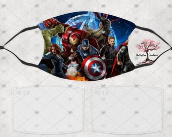 Super Hero Avengers Comic Washable Adult or Child  Face Mask with 2 Filters Reusable Face Protection