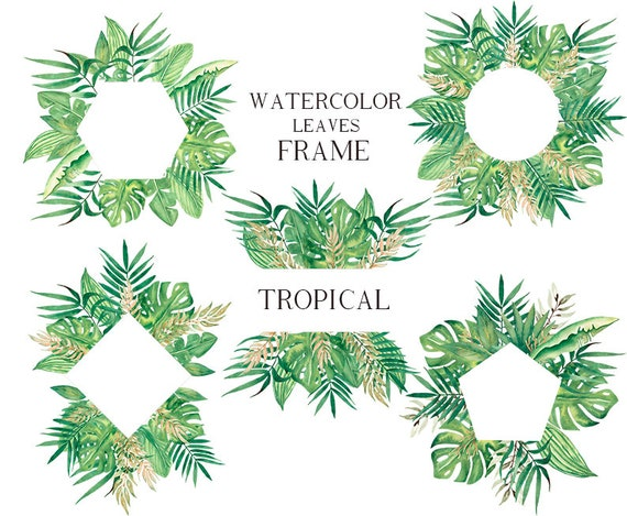 Watercolor Tropical Leaves Frame Greenery Clipart Palm Leaf Etsy Forest tropical leaves and leaf plant palm frame, palm, tropical, vector png and vector with transparent background for free download. etsy