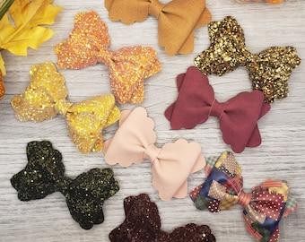 USDR Pumpkin Pie RibbonHQ Faux Leather Leather Bows Faux leather bows- Earrings-Bows Coffee Leather Crafts- Supplies