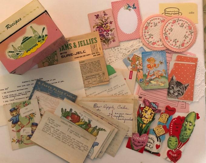 Anthropomorphic Valentines- Recipes Vintage Ohio Art Recipe Tin Box Valentines Ephemera Embellishments