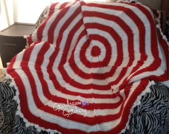 Peppermint Handmade Crochet Afghan Blanket Throw