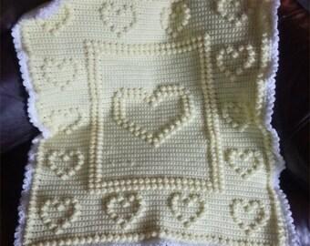 Yellow Hearts Heirloom Crochet Baby Blanket Crib Blanket
