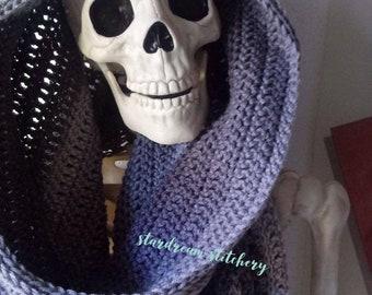 Handmade Crochet Midnight Oleander Hooded Scarf Cowl
