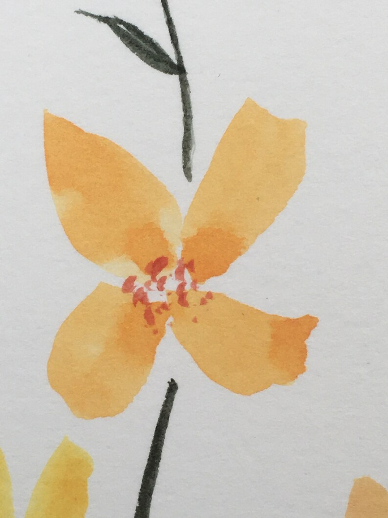 wall painting Original painting wall art Wild Flower Watercolour Art Orange Yellow nursery art home decor