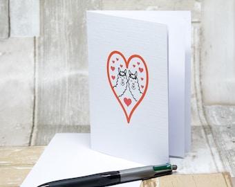 Alpaca love hearts, A6 greetings card