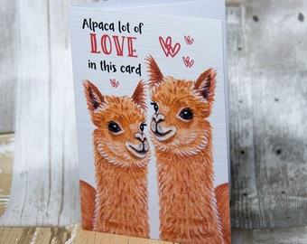Alpaca lot of love, A6 Greetings Card