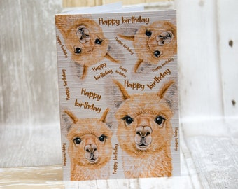 Fluffy ears alpaca card, happy birthday, A6 Greetings Card