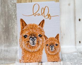 Alpaca hello, alpaca A6 greetings card