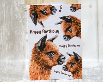 Brown alpaca/cria happy birthday, A6 greetings card
