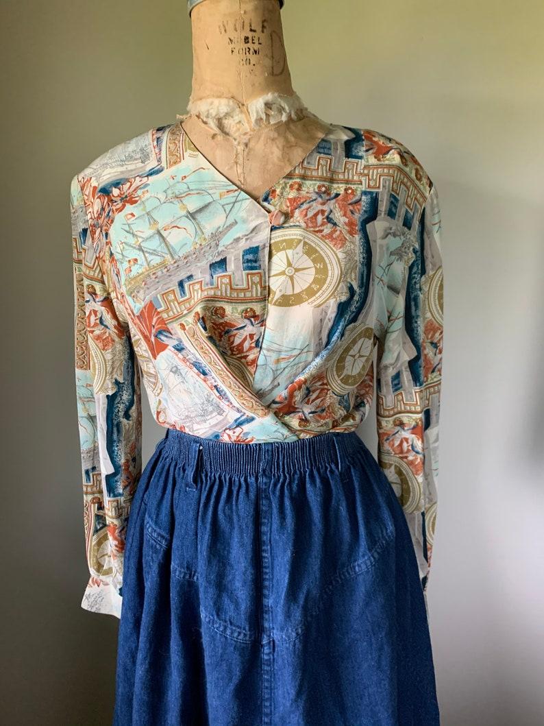 Vintage 90\u2019S Silk Nautical Print Blouse