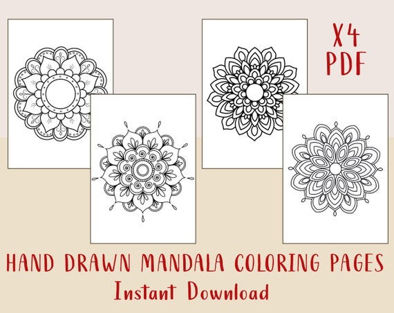4 Mandala coloring pages to print and color Mandala PDF coloring page Mandala coloring kids Mandala coloring book Mandala coloring printable