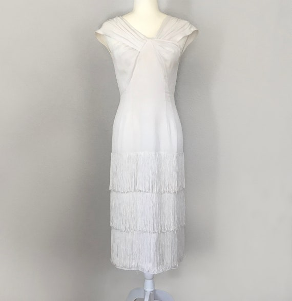 Authentic 1930s White Fringed Flapper Dress - image 1
